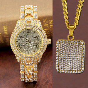 Timekeeper Iced Out Watch + Pendant Set - no-stylist-bling