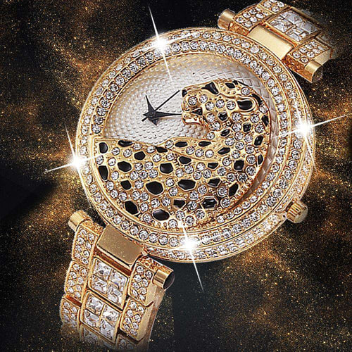 18k Gold Quartz Diamond Leopard Watch - no-stylist-bling