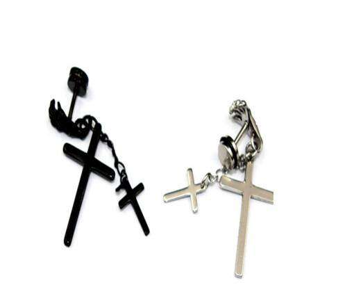 Cross N Bones Stainless Steel Earrings - no-stylist-bling