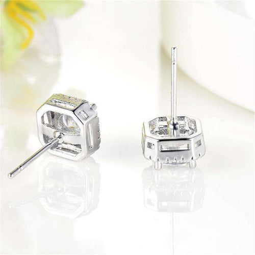 Bling Bling Square Silver Stud Earrings - no-stylist-bling