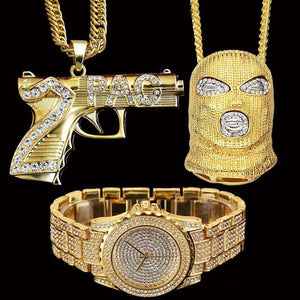 Crooklyn Iced Out Goon And Gun Pendant + Crystal Watch Set - no-stylist-bling