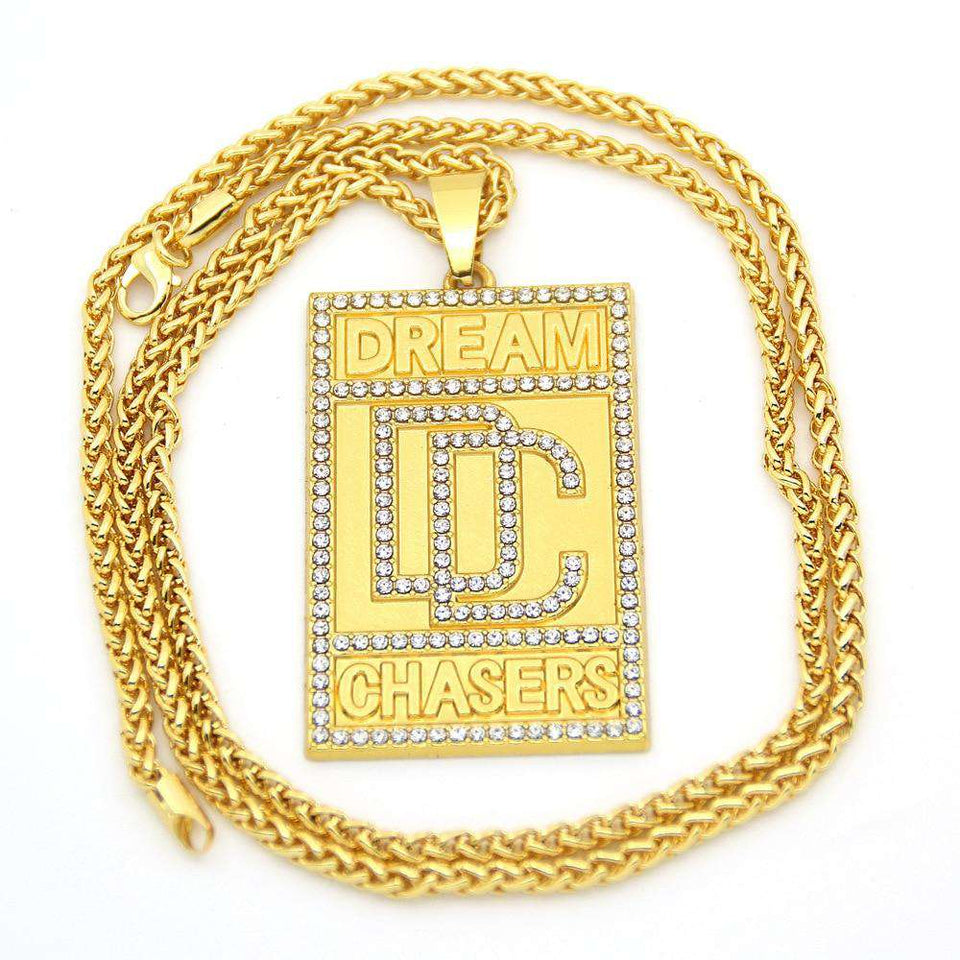 Meek Mill Dream Chasers 14k Gold Plated Pendant Necklace - no-stylist-bling