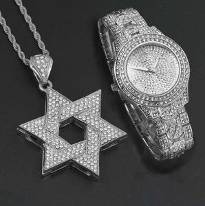 Silver/Gold Star of David Iced Out Pendant + Watch Gift Set - no-stylist-bling