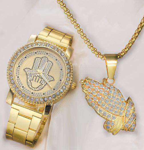 18k Gold Plated Diamond Praying Fatima Gold Watch + Chain Combo - no-stylist-bling