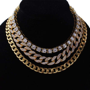Gold Cuban + Tennis + Cuban Link Choker Set
