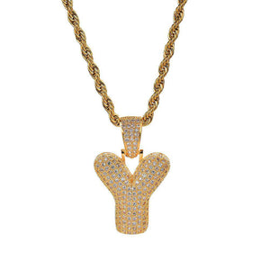 Free Single Gold Bubble Letter Necklace - no-stylist-bling