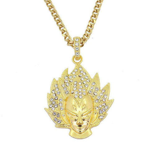 Vegeta Dragon Ball Z Gold/Silver Bling Necklace - no-stylist-bling