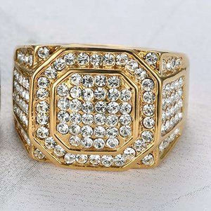 Iced Out Silver/Gold Square Ring
