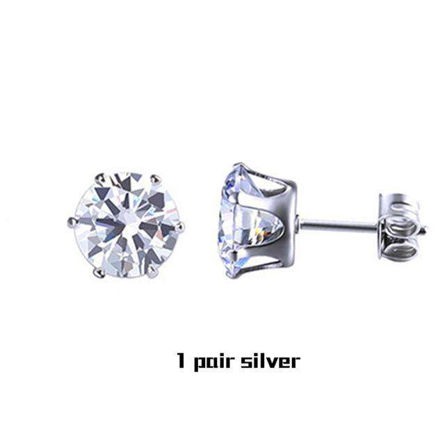 Small Iced Crystal Stainless Steel Stud Earrings - no-stylist-bling