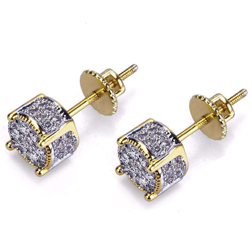 Iced Out Gold Stud Earring - no-stylist-bling