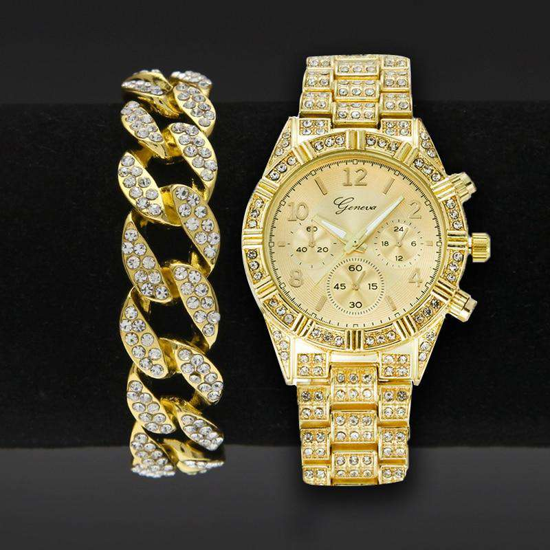Gold Bling Watch + Cuban Chain Bracelet Set - no-stylist-bling