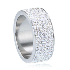 Gold/Silver Thick Band Bling Ring - no-stylist-bling
