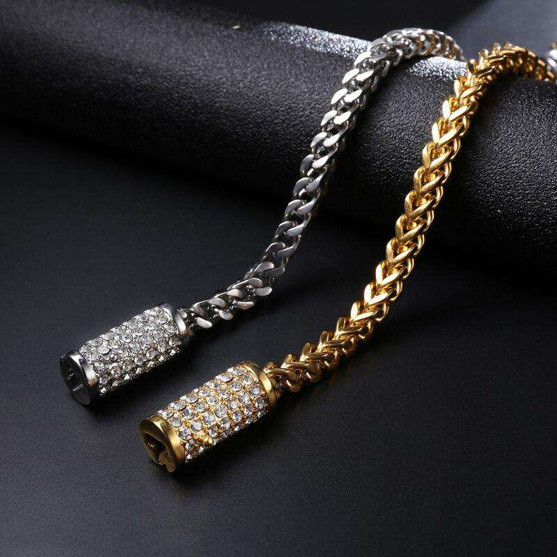 Gold/Silver Chain Bracelet With Blinged Out Clasp