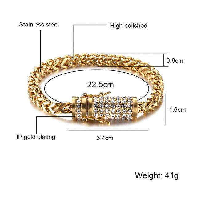Gold/Silver Chain Bracelet With Iced Out Clasp