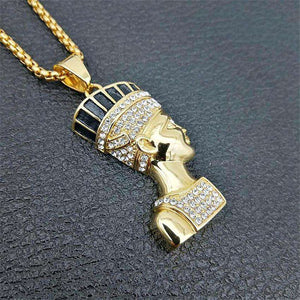 Egyptian Queen Nefertiti Bling Pendant Necklace - no-stylist-bling