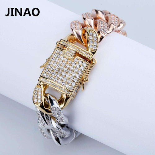 Gold/Silver/Rose Gold 3 Tone Bling Cuban Chain Bracelet