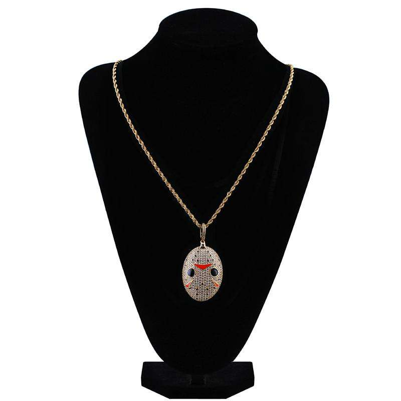 Jason Mask Bling Oval Pendant Necklace - no-stylist-bling
