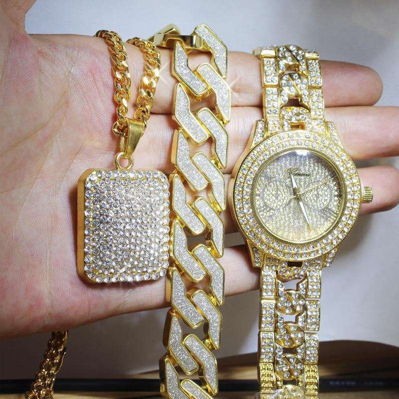 Swaggy Ice Out Watch + Necklace + Bracelet Set - no-stylist-bling