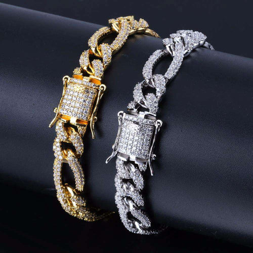 Iced Out Rapper Gold/Silver Clasp 10mm Cuban Chain Bracelet