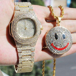 Iced Smiley Pendant + Watch Gift Set - no-stylist-bling