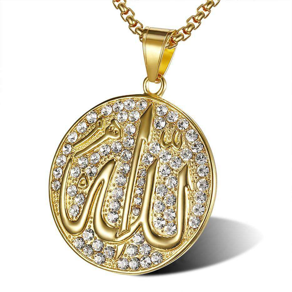 Allah Iced Gold Medal Pendant + Chain - no-stylist-bling
