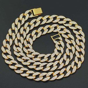 Ricky 14k Gold Iced Cuban Chain + Bracelet + Geometric Earrings Gift Set - no-stylist-bling
