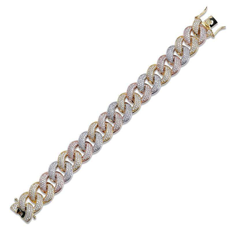 Mixed Bling 24k Gold Plated Cuban Chain Bracelet - no-stylist-bling