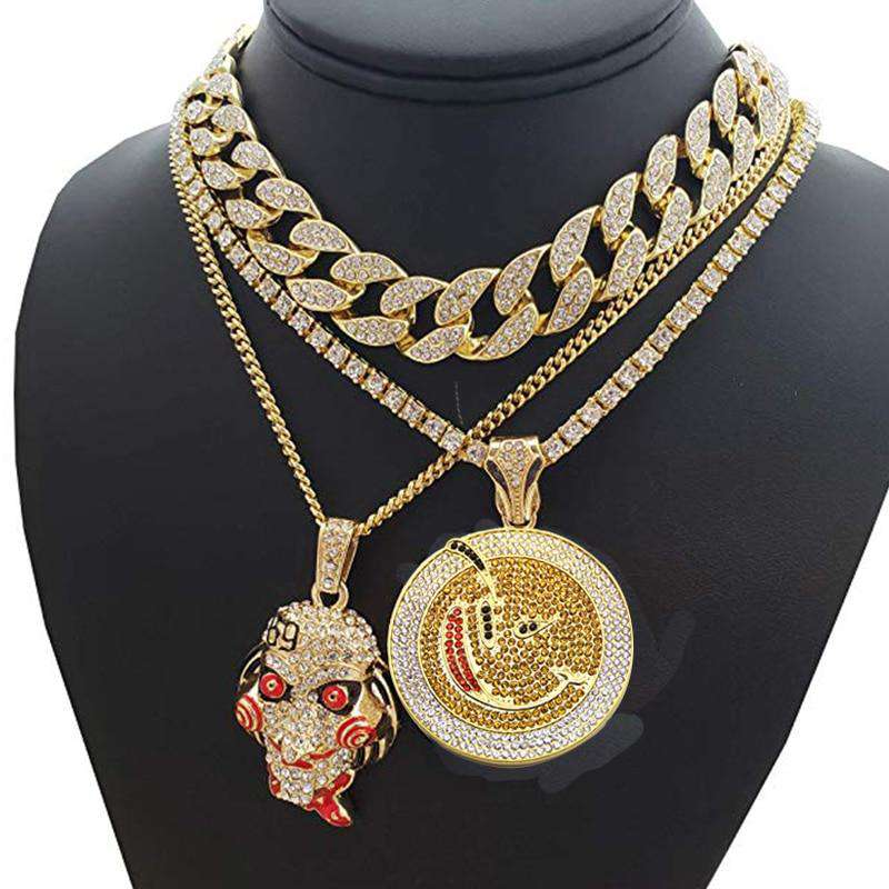 Iced Out Jig Saw Pendant + Round Pendant + Cuban Choker Chain Set - no-stylist-bling