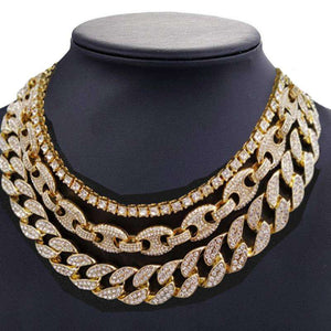 Gold Bling Cuban Chain + Coffee Bean Chain + Row Tennis Choker Chain Set - no-stylist-bling