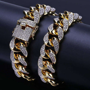 24k Gold Plated/Silver Miami Cuban Chain Bracelet - no-stylist-bling