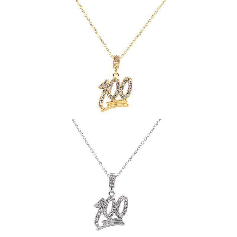 Iced 100 Emoji & YRN Pendant Necklace - no-stylist-bling