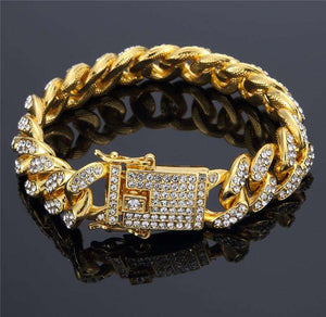 Iced Out 18k Gold Plated Cuban Bracelet - no-stylist-bling