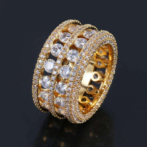 Iced Out Gold/Silver Thick Band Ring - no-stylist-bling