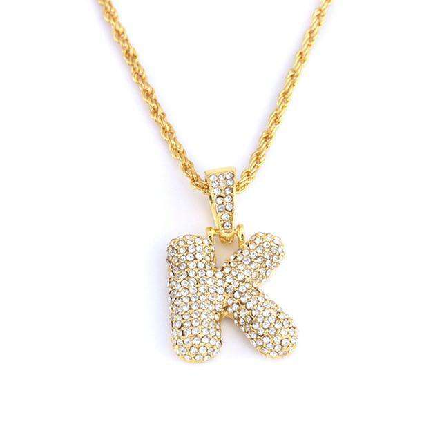Custom Bubble Letter Necklace - no-stylist-bling