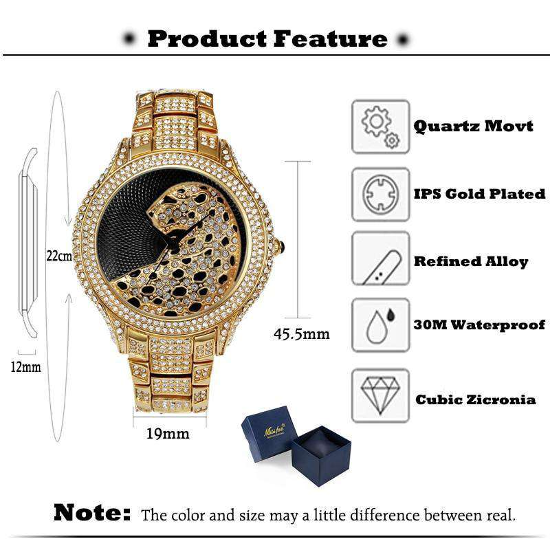 18k Gold Plated Leopard Frosting Watch and Chain Combo - no-stylist-bling