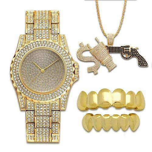 Gold Grillz + Bling Gun Pendant + Bling Gold Watch Set - no-stylist-bling
