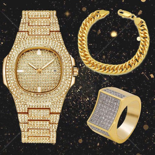 Gold Cuban Chain Bracelet + Iced Out Watch + Geometric Ring Set - no-stylist-bling