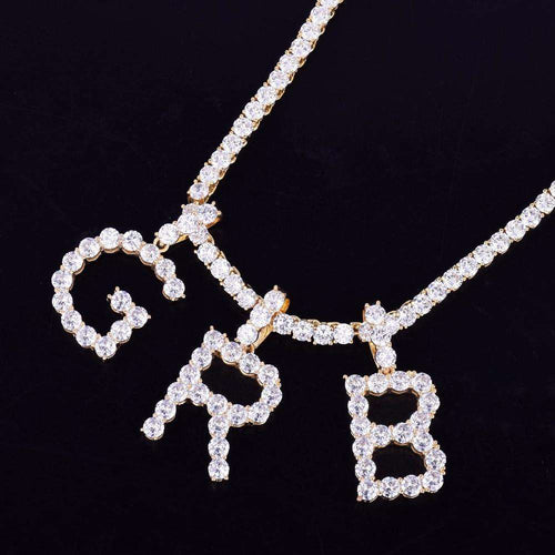 Custom Silver Tennis Letter Necklace