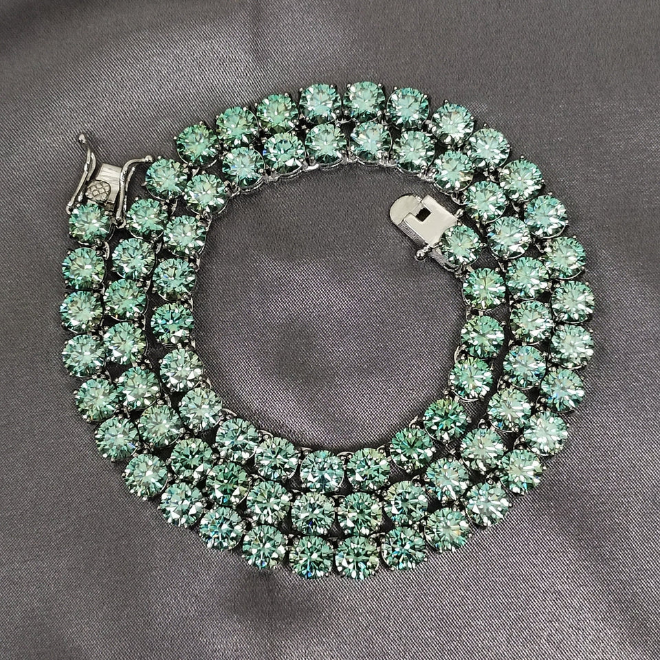 VVS Jewelry Rare Blue/Green 925 Sterling Silver Moissanite Tennis Chain
