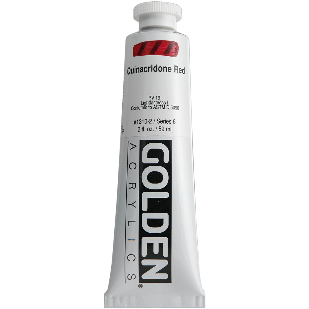 Golden Artist Colors (GAC) Heavy Body Acrylic Paint, 2-Ounce Tube, Quinacridone Red (1310-2)