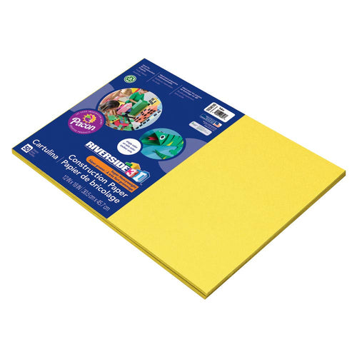 Pacon 3D Riverside Construction Paper, Yellow, 12