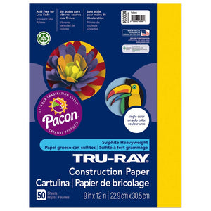"Pacon Tru-Ray Yellow Construction Paper, Yellow, 9"" x 12"", 50 Sheets"