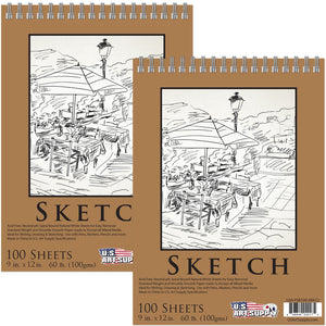 U.S. Art Supply 9 x 12 Premium Spiral Bound Sketch Pad (Pack of 2 Pads)
