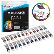 Load image into Gallery viewer, U.S. Art Supply Professional 24 Color Set of Watercolor Paint in 12ml Tubes