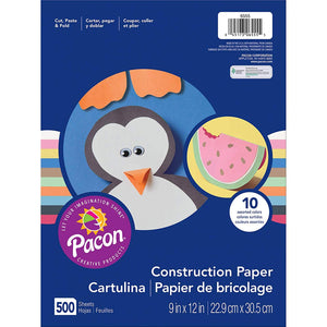 "Pacon Lightweight Super Value Construction Paper, Assorted Colors, 9"" x 12"", 500 Sheets"