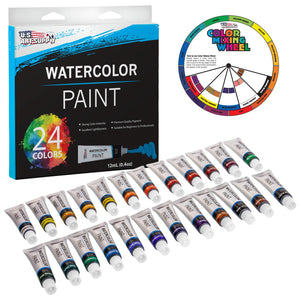 U.S. Art Supply Professional 24 Color Set of Watercolor Paint in 12ml Tubes