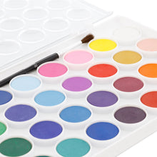 Load image into Gallery viewer, U.S. Art Supply 36 Color Watercolor Artist Paint Set Includes Plastic Palette Lid Case & Paintbrush - Suitable for Children of Age 3+