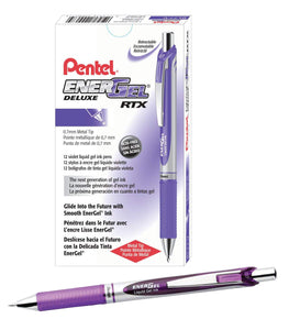 Pentel EnerGel RTX Retractable 0.7mm Medium Line Violet Liquid Gel Ink Rollerball Pens - Box of 12 Pens (BL77-V)