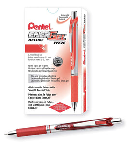 Pentel EnerGel RTX Retractable 0.7mm Medium Line Red Liquid Gel Ink Rollerball Pens - Box of 12 Pens (BL77-B)
