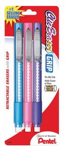 Pentel Clic Retractable Pencil-Style Grip Eraser - 3 Erasers Assorted Colors (ZE21TBP3M)